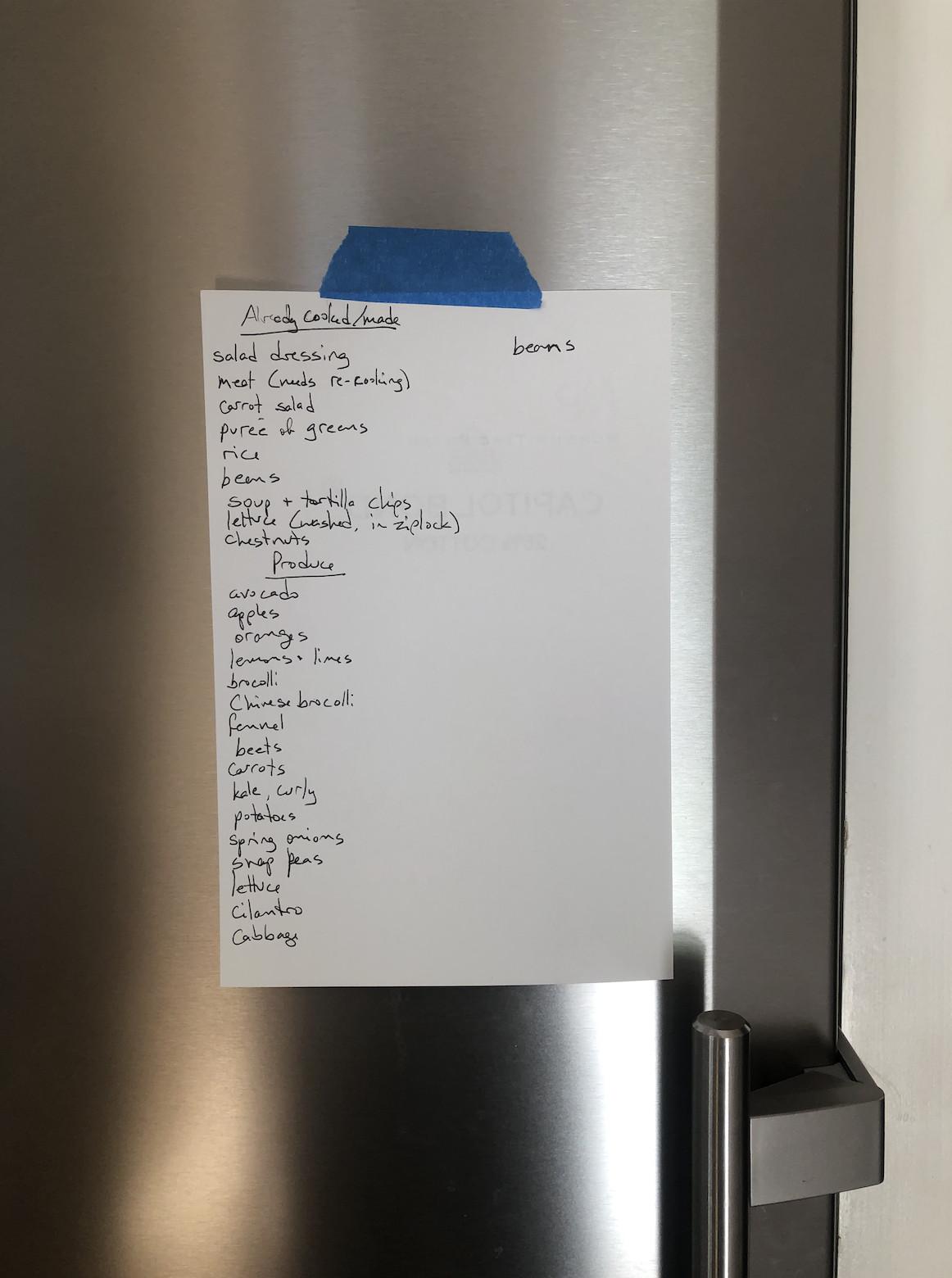 Uma lista de ingredientes e pratos colados na parte externa de uma geladeira de metal.