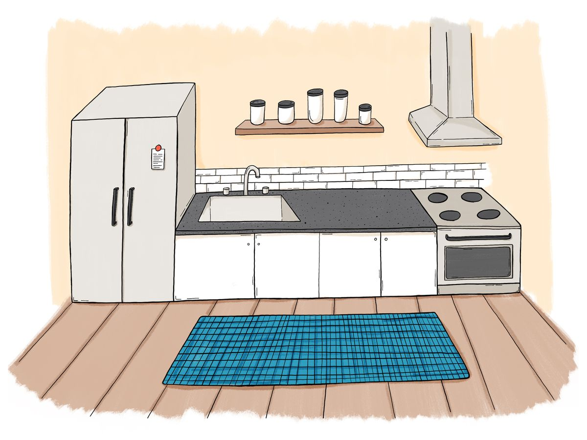 An illustration of a kitchen with a blue rug.