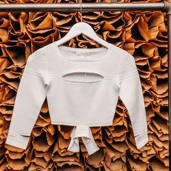 "<b>Cushnie et Ochs</b> Rayon Viscose Crop Sweater, <a href=""http://owennyc.com/shop-women/women/women-shirts/women-rayon-viscose-crop-sweater-4213.html""> $495</a>"