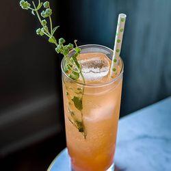 A shrub cocktail with Grey Goose vodka, red bell pepper shrub, falernum, marjoram, seltzer