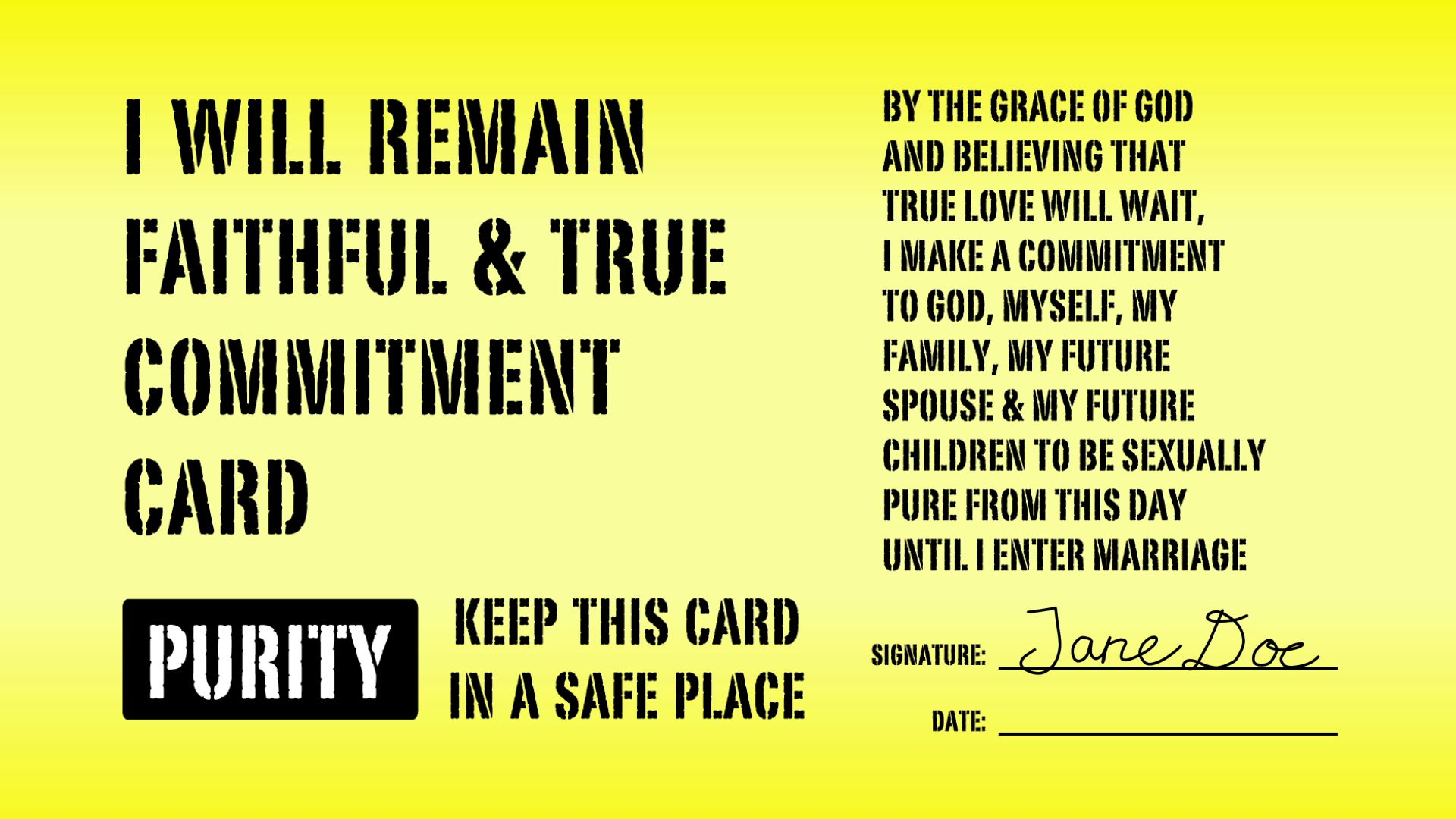 purity card