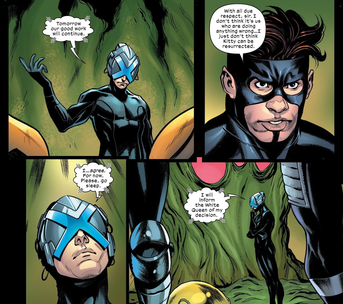 Professor Xavier tells the Five that they must give up on attempting to resurrect Kate Pryde. It appears to be impossible, in Mauraders #10, Marvel Comics (2020).