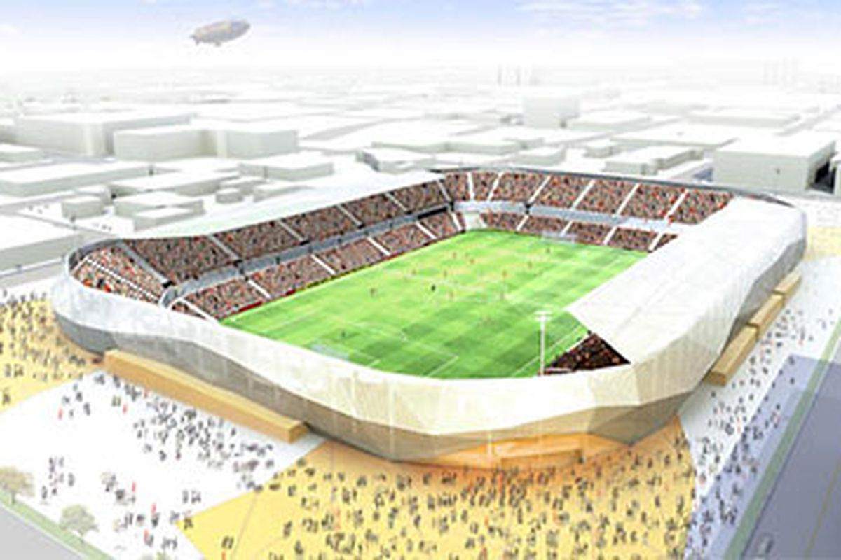 The original sketch of the Houston Dynamo stadium. Populous is expected to release updated designs in the coming months.