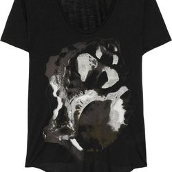 """<a href=""""https://www.theoutnet.com/product/347226"""">Printed jersey T-shirt by Helmut Lang</a>, $35 (was $140)"""