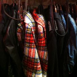 Some outerwear to be found near the back right.