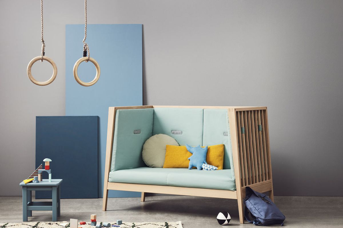 Stylish baby crib transforms into a bed then a sofa - Curbed