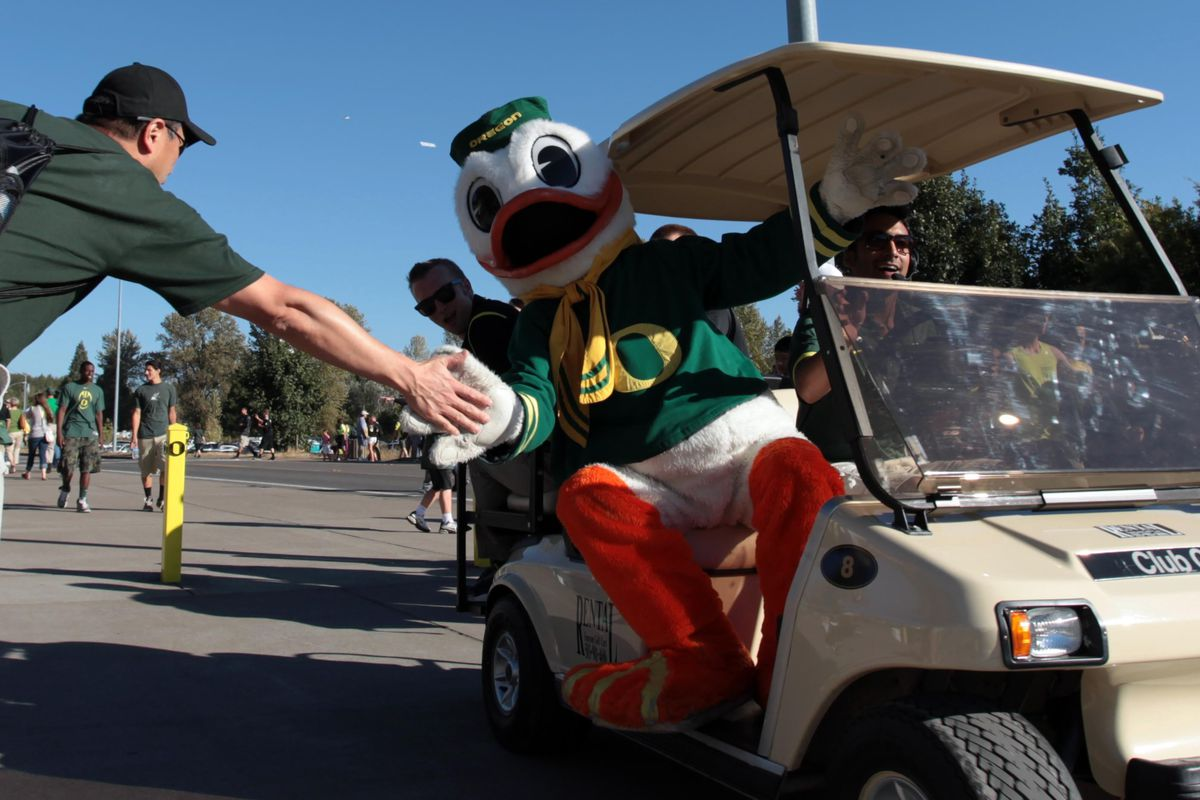 September 1, 2012; Eugene, OR, USA; Oregon Ducks mascot rides in a golf cart before the game against the Arkansas State Red Wolves at Autzen Stadium. Mandatory Credit: Scott Olmos-US PRESSWIRE