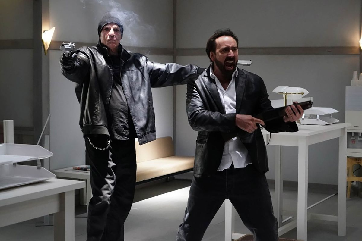 Nick Cassavetes and Nic Cage hold up an all-white bank in Prisoners of the Ghostland