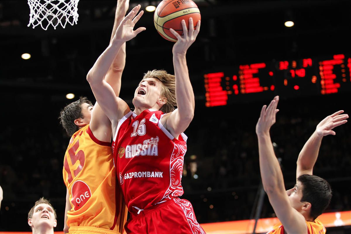 Former Utah Jazz forward Andrei Kirilenko drives to the basket during Russia?s bronze medal game against Macedonia in the 2011 European Championship on Sunday.