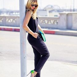 """Liz of <a href=""""http://www.lateafternoonblog.com""""target=""""_blank"""">Late Afternoon</a> is wearing a <a href=""""http://www.trinaturk.com/Jalen-Jumpsuit/p/36879?source=pjn&subid=73861""""target=""""_blank"""">Trina Turk</a> jumpsuit, a <a href=""""http://www.shopbop.com/avr"""