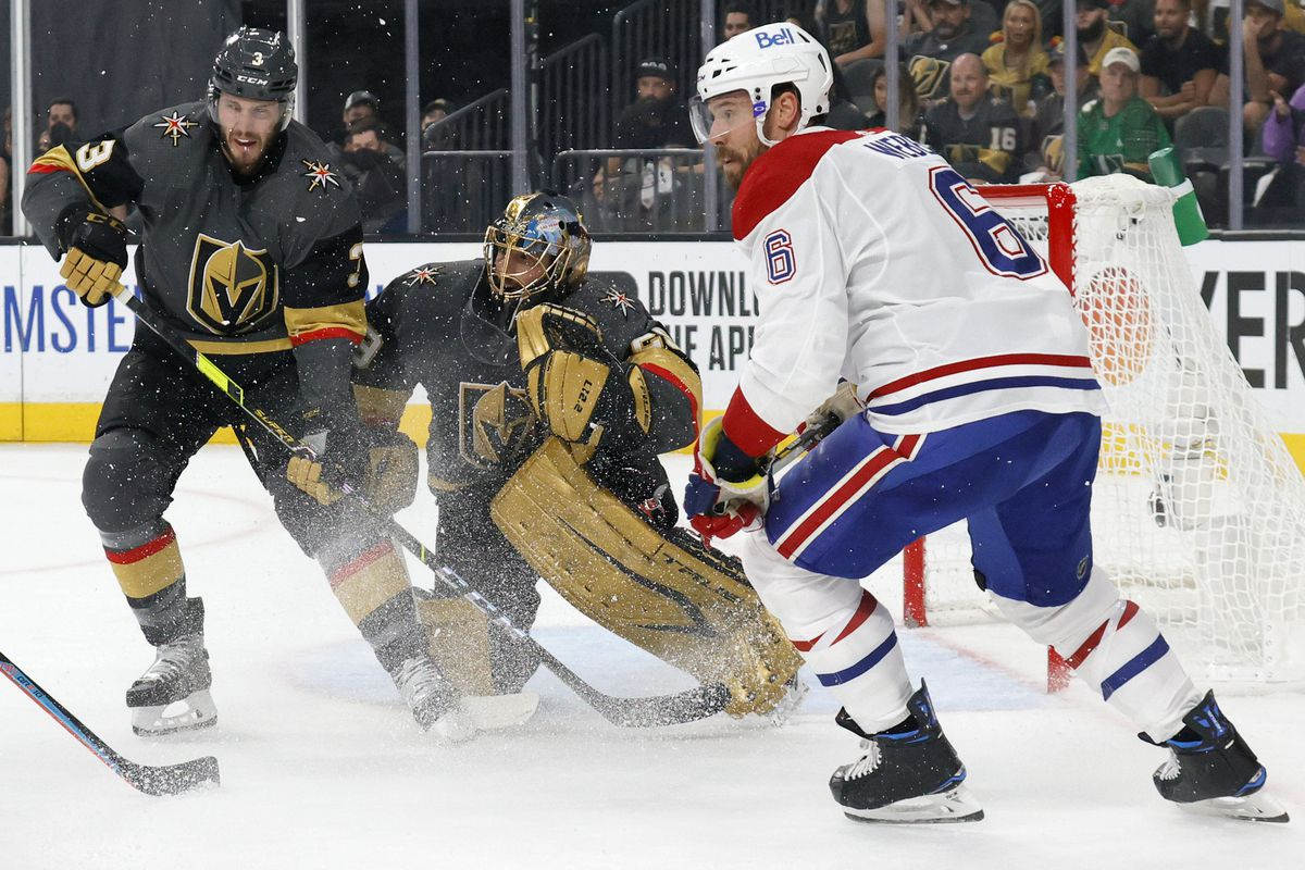 Brayden McNabb #3 and Marc-Andre Fleury #29 of the Vegas Golden Knights defend the net against Shea Weber #6 of the Montreal Canadiens in the first period in Game Two of the Stanley Cup Semifinals during the 2021 Stanley Cup Playoffs at T-Mobile Arena on June 16, 2021 in Las Vegas, Nevada.
