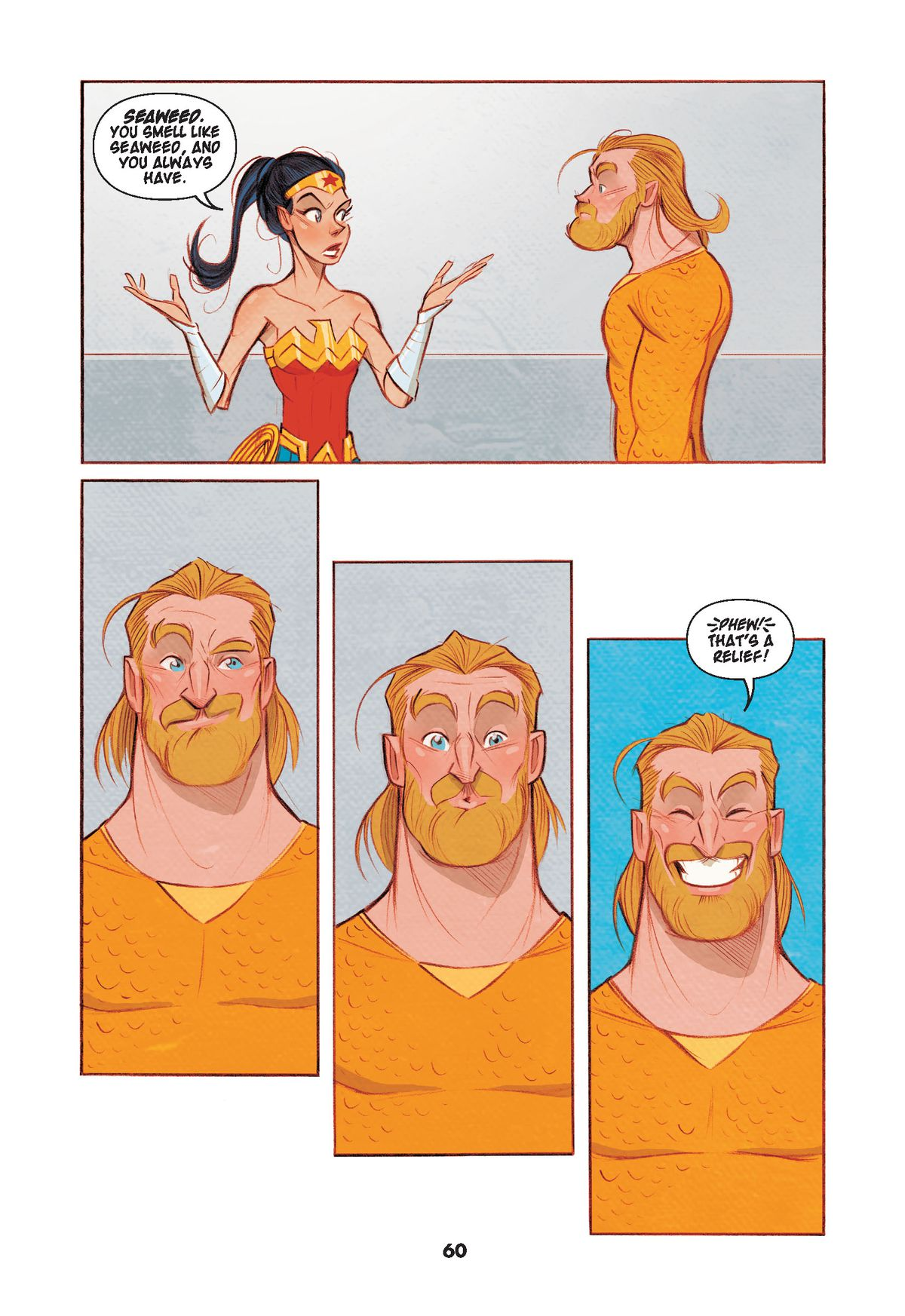 Wonder Woman tells Aquaman that he smells like seaweed, and always has. He seem relieved, in Dear Justice League, DC Comics (2019).