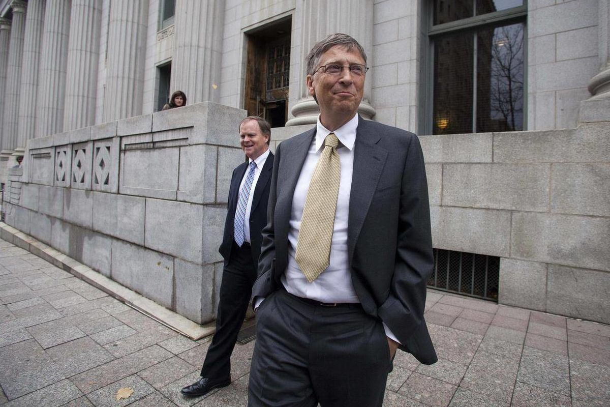 Microsoft co-founder and chairman Bill Gates leaves the Frank E. Moss federal courthouse in Salt Lake City, Monday, Nov.  21, 2011. Gates testified in a $1 billion antitrust lawsuit brought by Novell Inc.