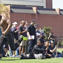 Xavier Grimble clocked in at 5.02 in the 40.
