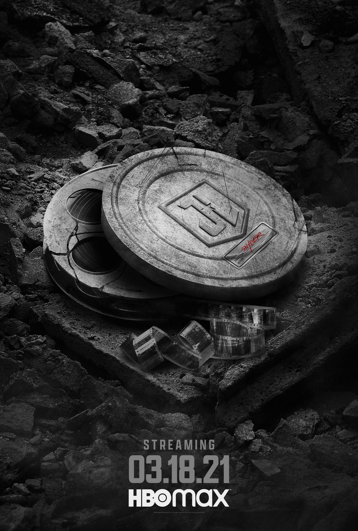 Justice League Snyder Cut poster with film canisters
