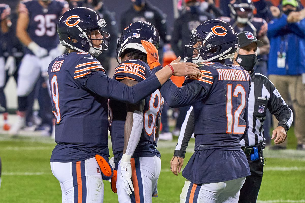 Chicago Bears Quarterback Nick Foles and Chicago Bears Wide Receiver Allen Robinson chat in game action during a NFL game between the Chicago Bears and the Tampa Bay Buccaneers on October 8th, 2020, at Soldier Field in Chicago, IL.