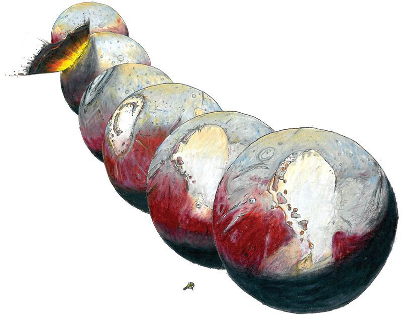 Illustration of possible impact that formed Pluto's subterranean ocean