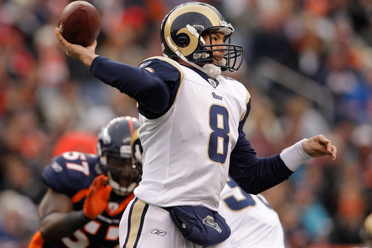DENVER - NOVEMBER 28:  Quarterback Sam Bradford #8 of the St. Louis Rams makes a pass against the Denver Broncos in the first quarter at INVESCO Field at Mile High on November 28 2010 in Denver Colorado. (Photo by Justin Edmonds/Getty Images)