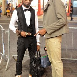 This is Adrian and Earl at Broadway and Broome. Adrian is wearing Zara pants, Vivienne Westwood shoes, and a waistcoat of his own design (Ace Academy.) Earl is wearing head-to-toe Reiss.