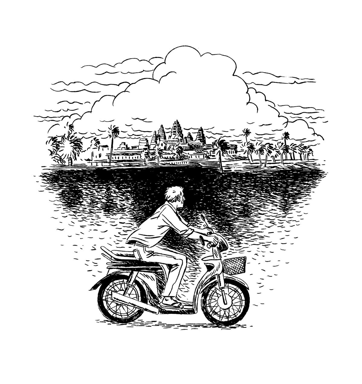A man rides a motor bike with buildings and palm trees far off in the distance