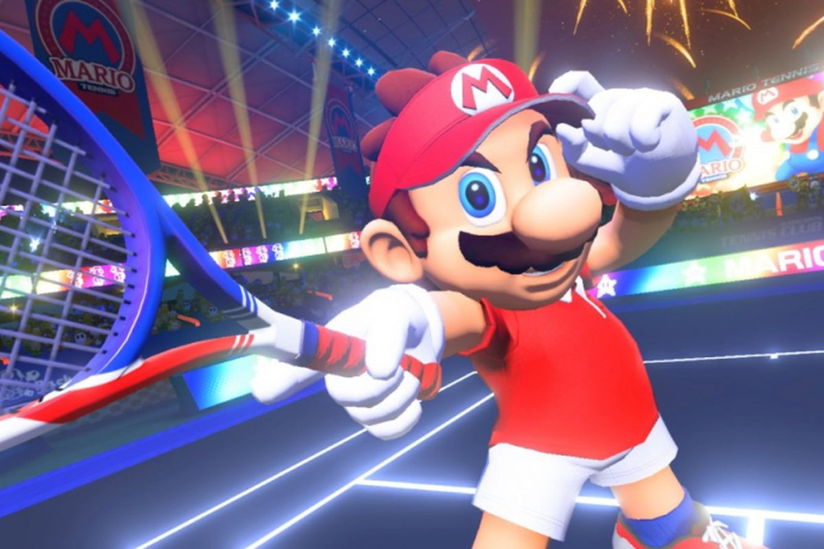 Mario holding a tennis racket in a large stadium in Mario Tennis Aces