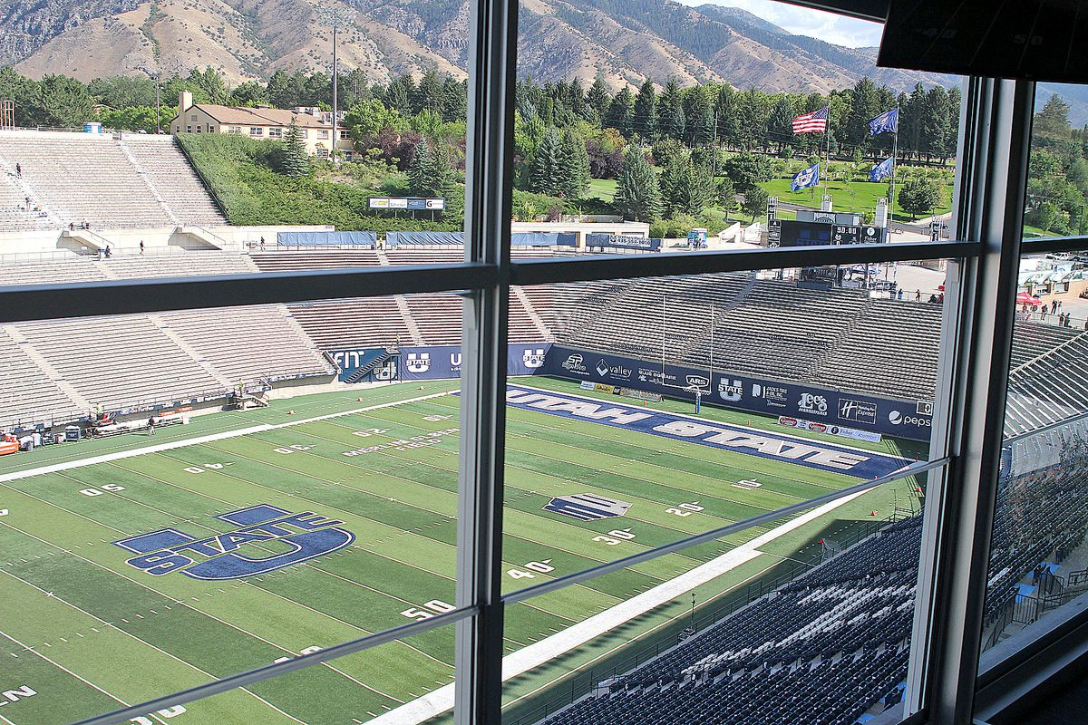 The view of Merlin Olsen Field from a suite at the West Stadium Center at Maverik Stadium in Logan.