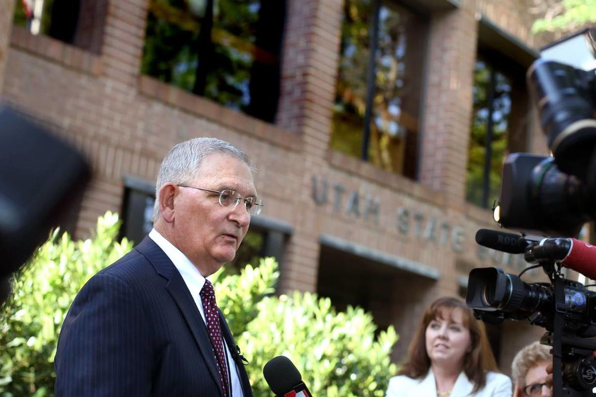 Martell Menlove, Utah Superintendent of Public Instruction, speaks with reporters at the State Board of Education office in Salt Lake City on Friday, Aug. 2, 2013.