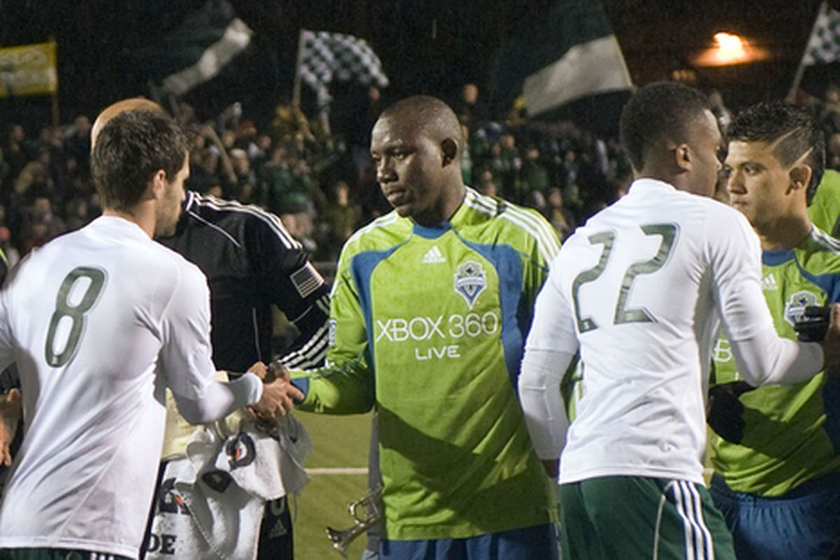 See, the Sounders and Timbers can play nice. (Photo by Sounders FC)