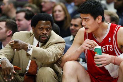 Houston Rockets' assistant coach Patrick Ewing gives some ad
