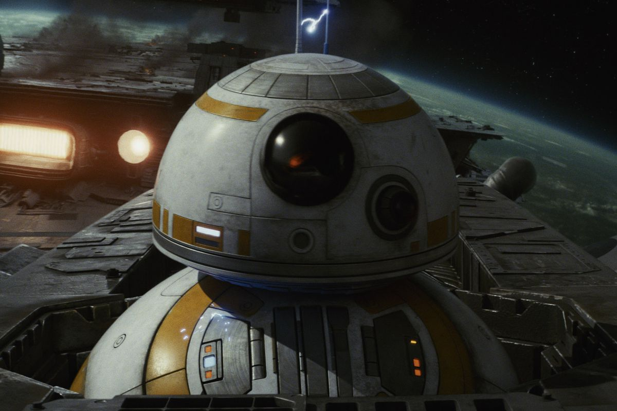 BB-8 on a spacecraft in space in Star Wars: The Last Jedi