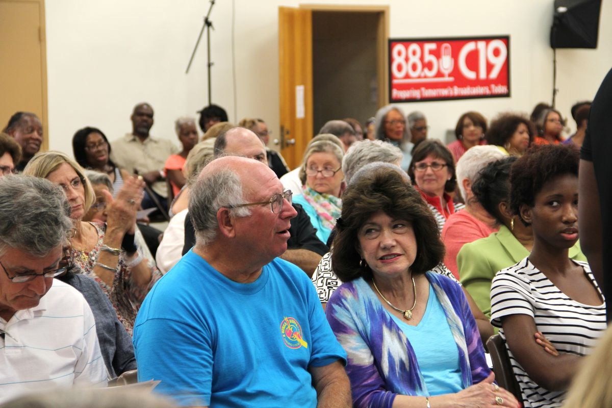 Retired educators attend a forum in Memphis last summer before the Shelby County Board of Education to discuss proposed cost-cutting changes to their retirement plans.
