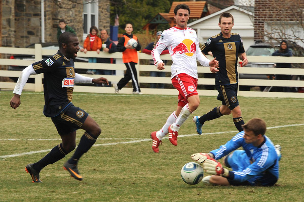 Chris Agorsor in action with the Philadelphia Union against the New York Red Bulls in Reserve League play . (Courtesy of Earl Gardner)