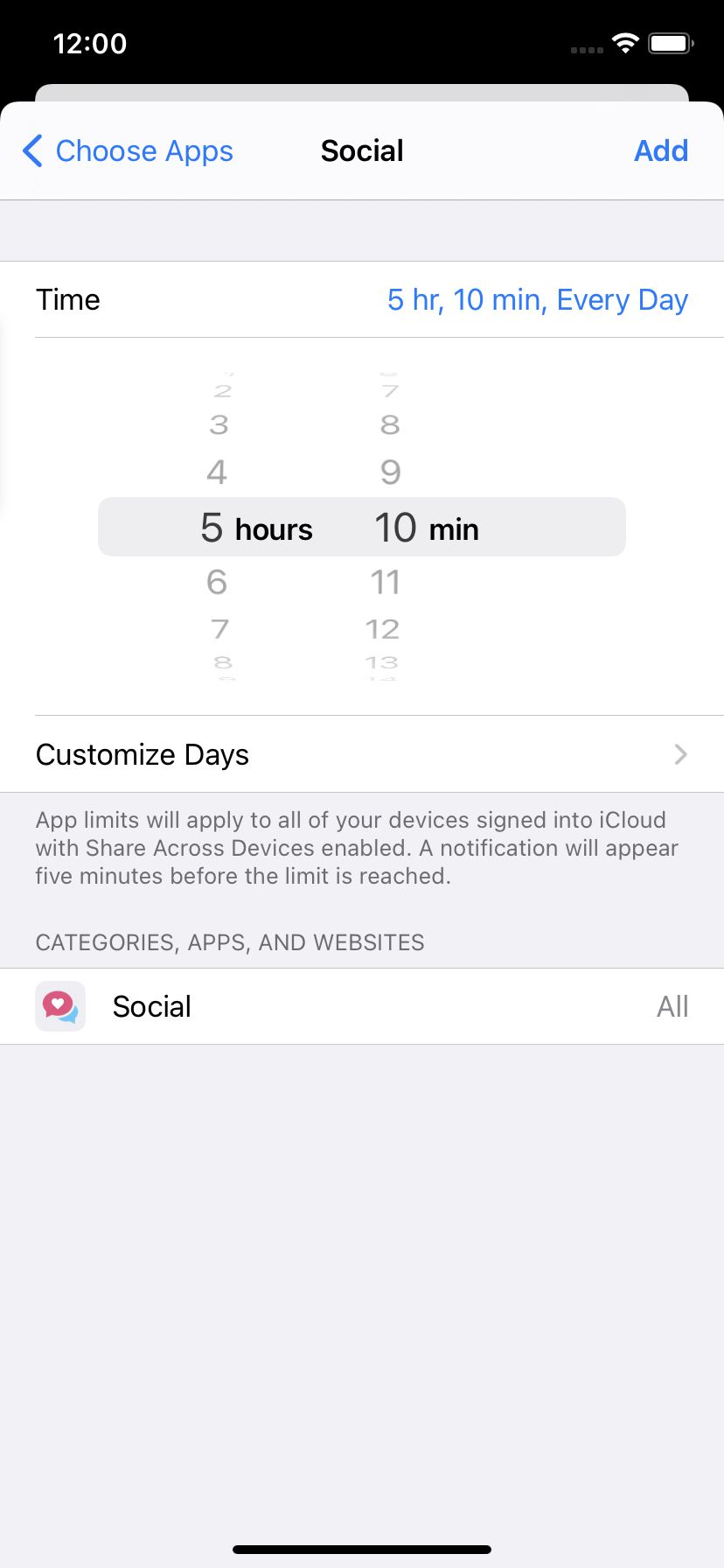 Choose how much time you want to spend on an app