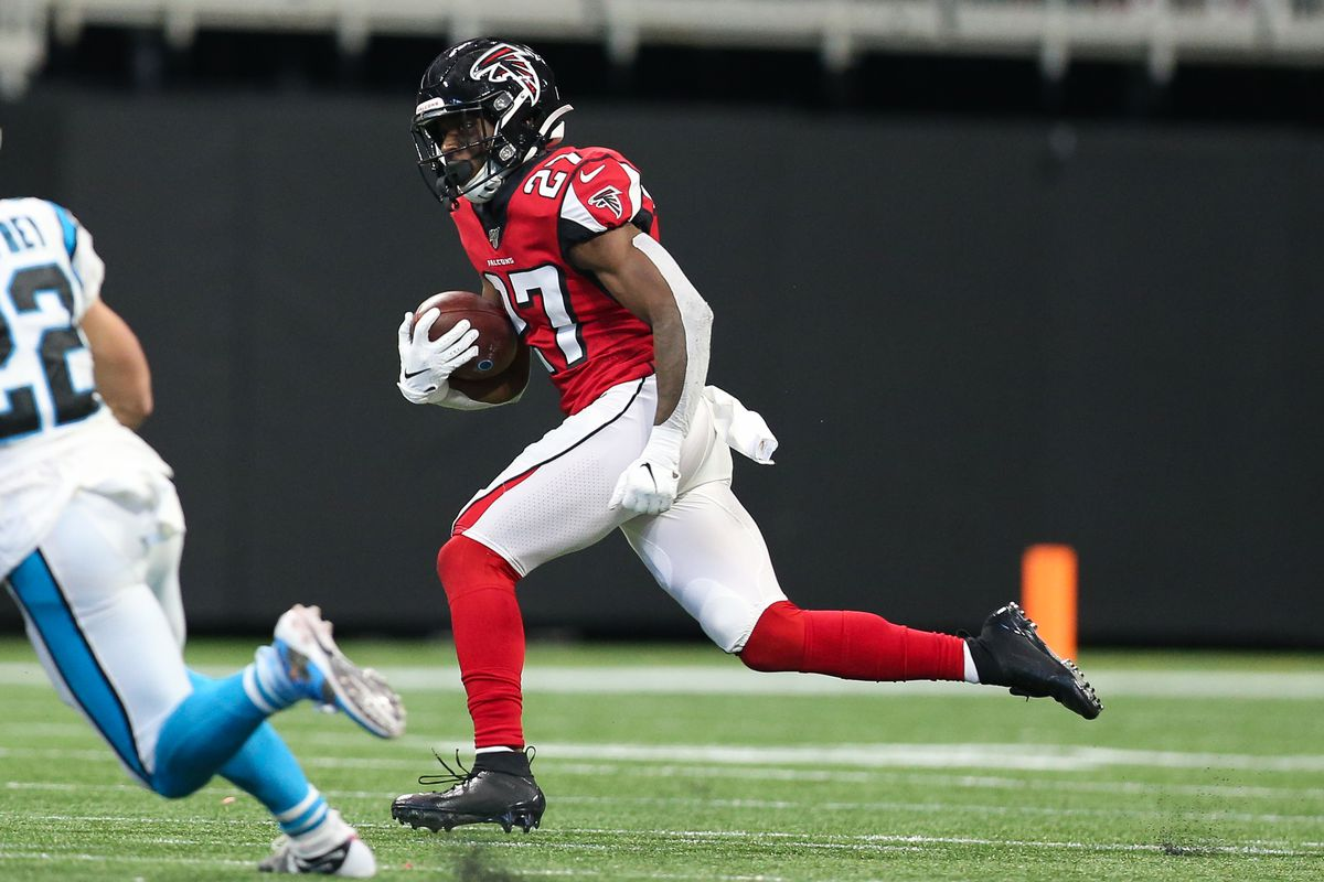 Damontae Kazee of the Atlanta Falcons rushes after making an interception during the second half of the game against the Carolina Panthers at Mercedes-Benz Stadium on December 8, 2019 in Atlanta, Georgia.