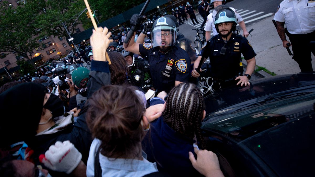 NYPD officers swung batons at protesters in Mott Haven, Bronx during a June 4 protest.