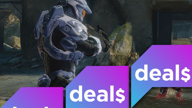 A screenshot from Halo: The Master Chief Collection overlaid with the Polygon Deals logo