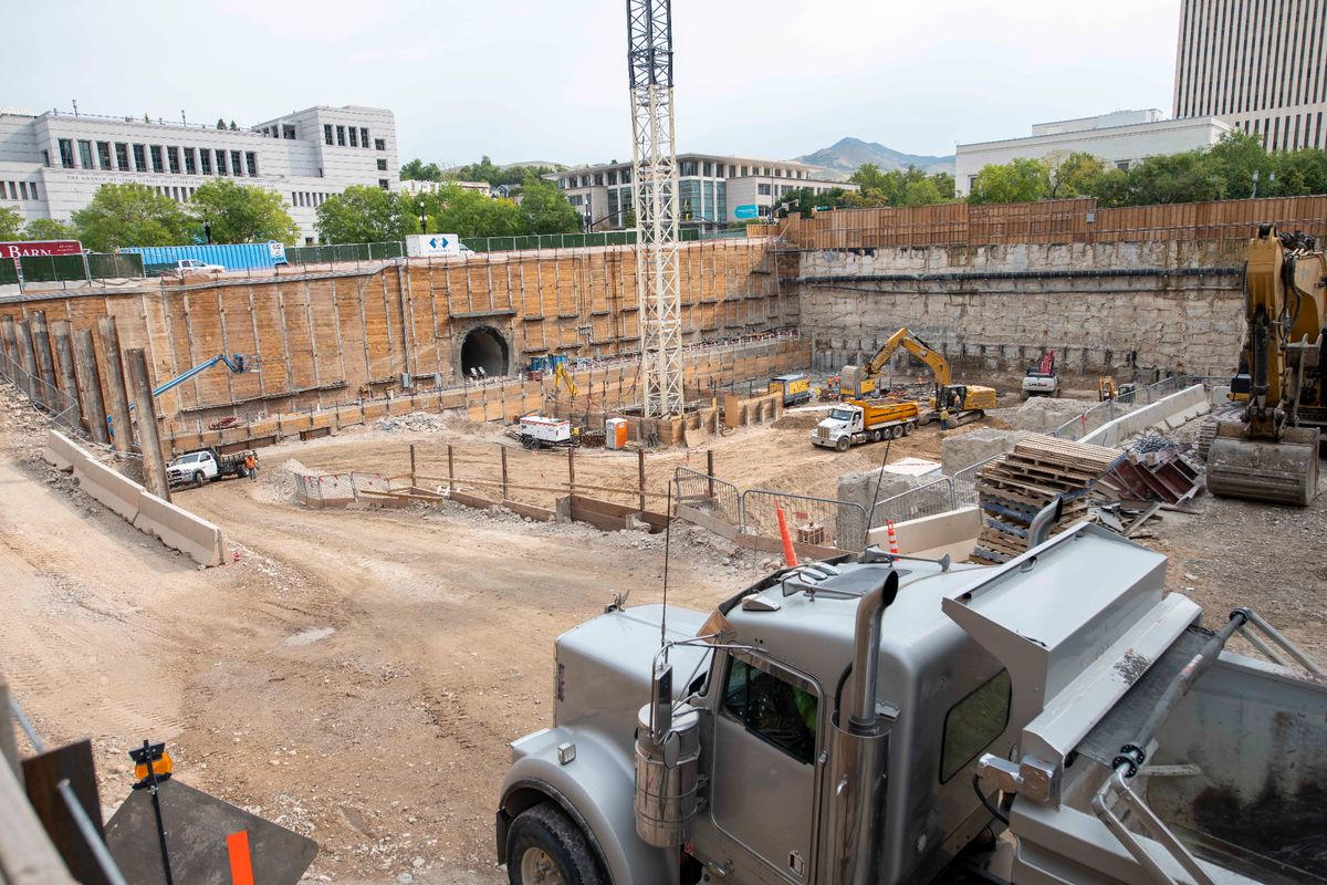Crews excavate past the level of the entrance tunnel on the north side of the temple, Salt Lake City, Utah, Sept. 2021.