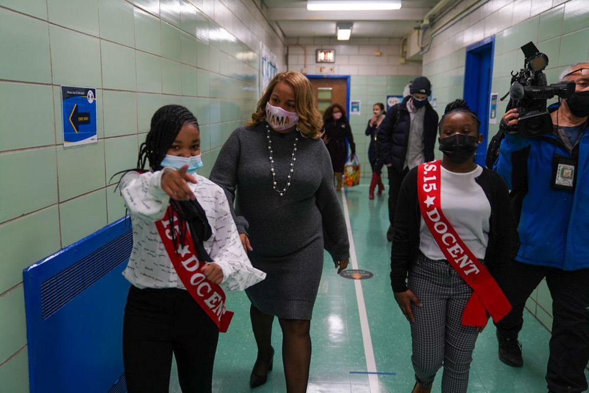 Chancellor Meisha Porter visits P.S. 15 in Red Hook, Brooklyn, N.Y. on her first day as chancellor.