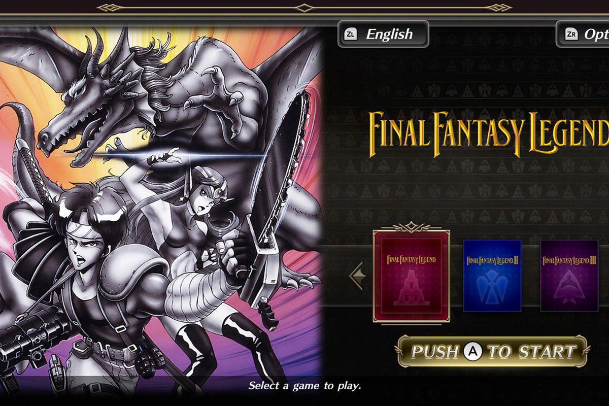 Final Fantasy Legend - push a to start screen