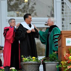 Mitt Romney receives an honorary doctorate from Southern Virginia University President Paul K. Sybrowsky and Provost Madison U. Sowell. April 27, 2013