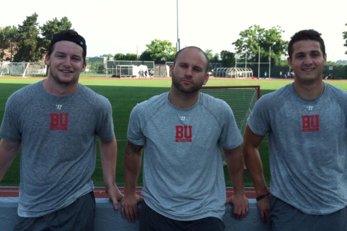 BU's MC trio: Brendan Collier, S&C Coach Anthony Morando, Nick Roberto