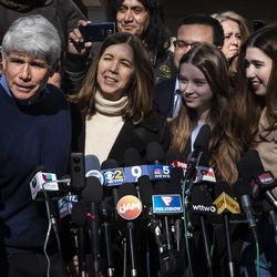 Former Illinois Gov. Rod Blagojevich's wife, Patti Blagojevich, and their two daughters, Annie and Amy (right), look on as he speaks to reporters outside the family's Ravenswood Manor home the day after he was released from a Colorado prison, Wednesday afternoon, Feb. 19, 2020. President Donald Trump on Tuesday commuted Blagojevich's 14-year prison sentence on charges of public corruption.