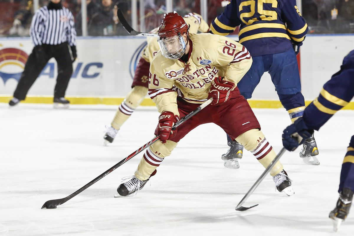 BC sophomore Austin Cangelosi had a goal and two assists Saturday against UNH.