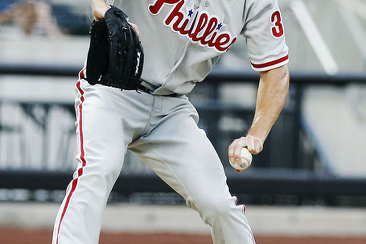 July 5, 2012; Flushing, NY, USA; Philadelphia Phillies starting pitcher Cole Hamels (35) delivers a pitch against the New York Mets at Citi Field Mandatory Credit: William Perlman/THE STAR-LEDGER via US PRESSWIRE