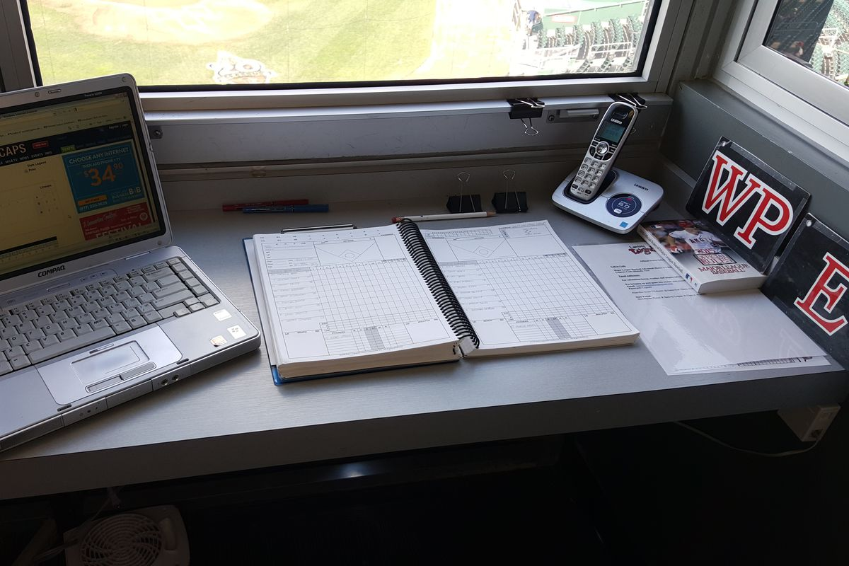 The official scorer's station at Cooley Law School Stadium in Lansing, Michigan