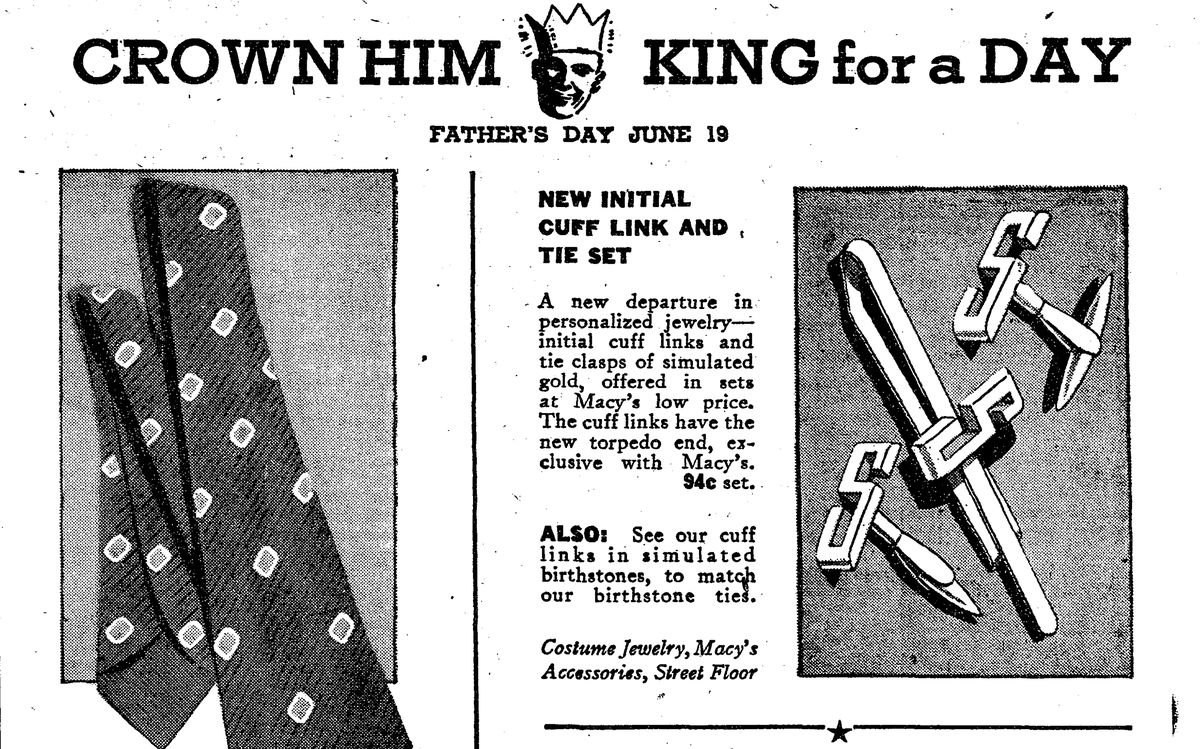 A Macy's Father's Day ad in 1938