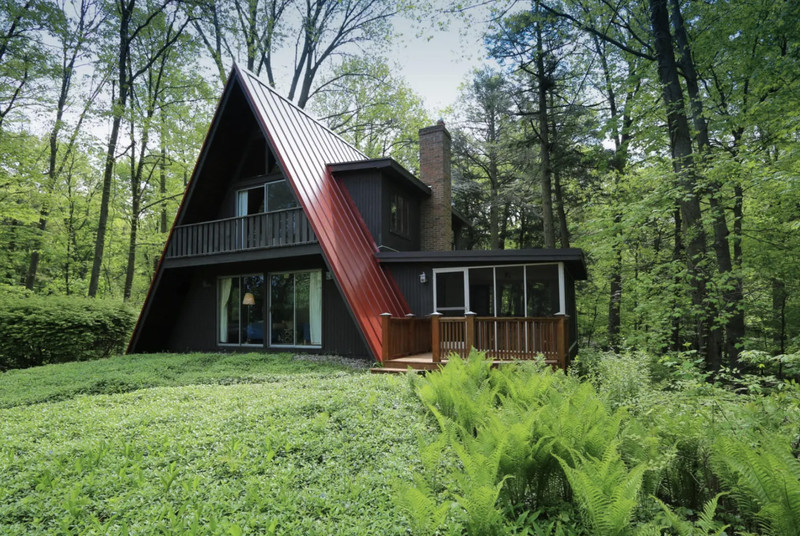An A-frame cabin with a red roof, black wood balcony, and brick chimney sits in the middle of a lush green forest with bright green ferns and tall trees.