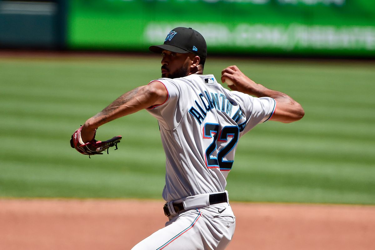 Miami Marlins starting pitcher Sandy Alcantara (22) pitches during the third inning against the St. Louis Cardinals at Busch Stadium.