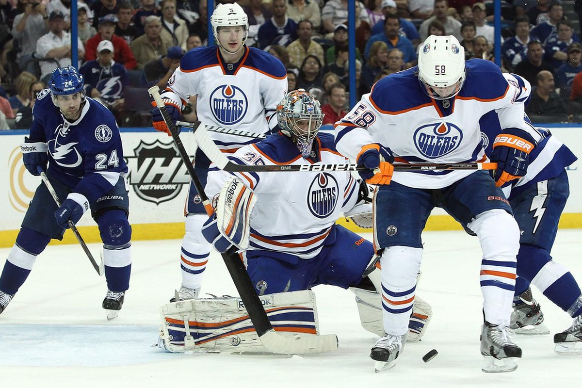 March 22, 2012; Tampa FL, USA; Edmonton Oilers goalie Nikolai Khabibulin (35) and Edmonton Oilers defenseman Jeff Petry (58) defends the puck during the second period against the Tampa Bay Lightning. Mandatory Credit: Kim Klement-US PRESSWIRE