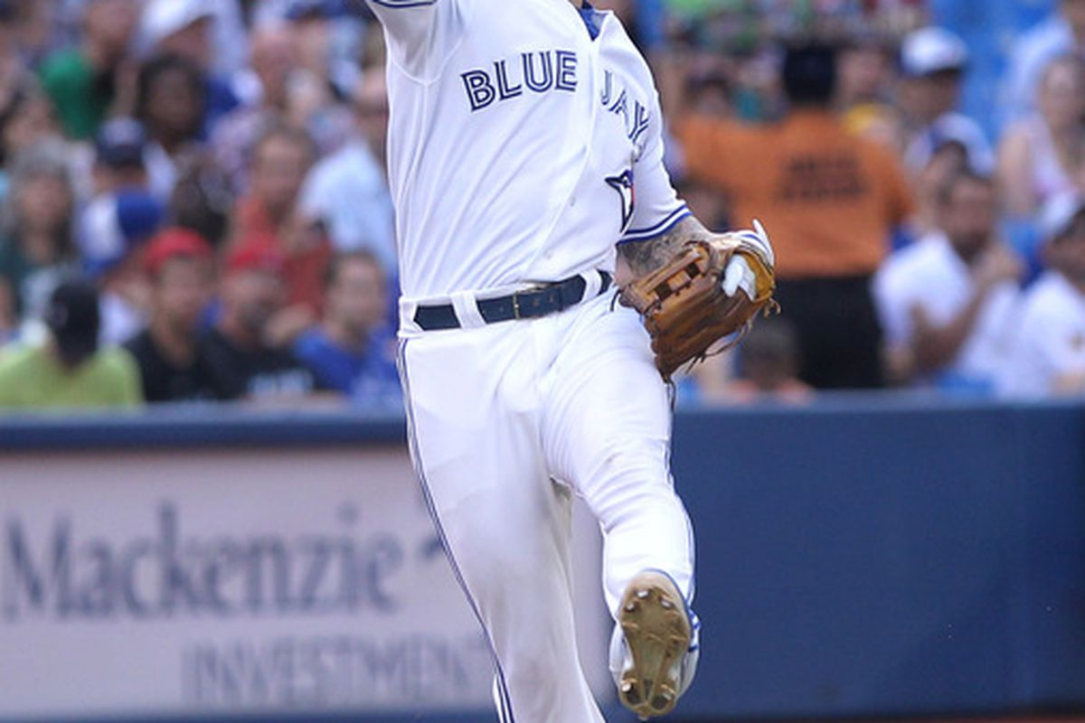 Jul 5, 2012; Toronto, ON, Canada; The Royals defeat the Jays and the evil hell beast pictured above. Mandatory Credit: Tom Szczerbowski-US PRESSWIRE